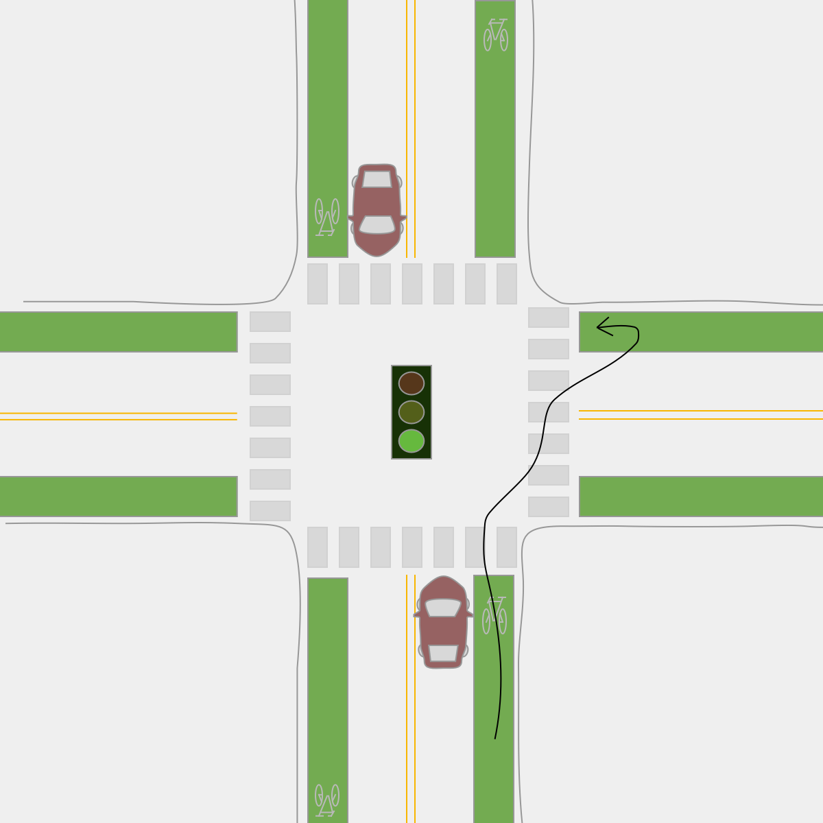 Left turn on a bicycle. Cross, stop, & Pivot