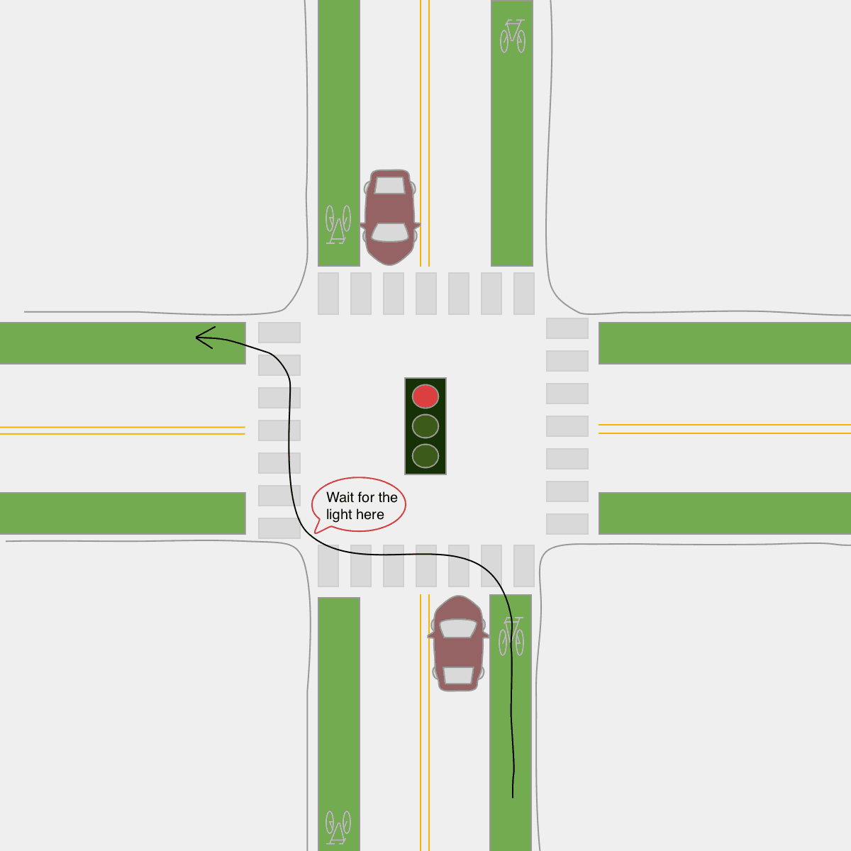 Left turn on a bicycle. Red Light Pedestrian